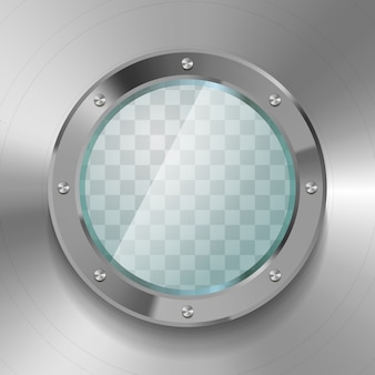 Realistic glossy porthole of submarine with metal body on transparent background