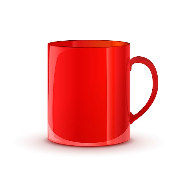 Realistic glossy red cup with shadow isolated
