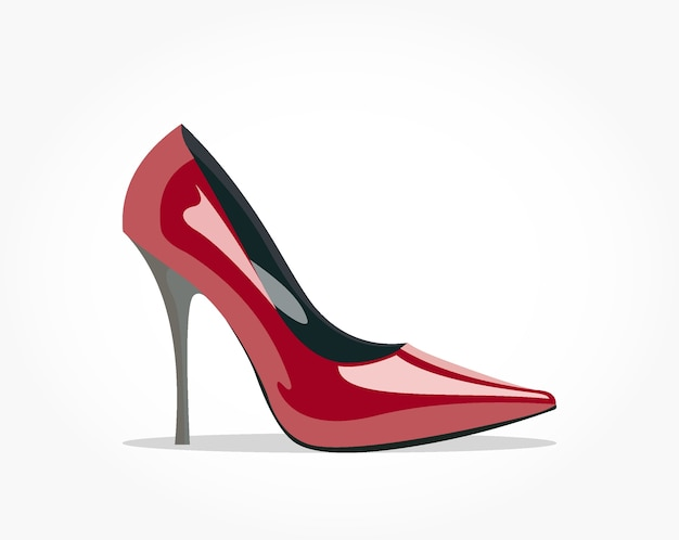 Realistic glossy red high heel woman shoe with shadow effect