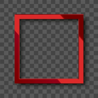Realistic glossy red square frame on transparent background