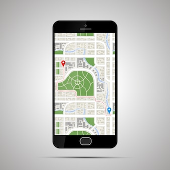 Realistic glossy smartphone with detailed map of city and gps path