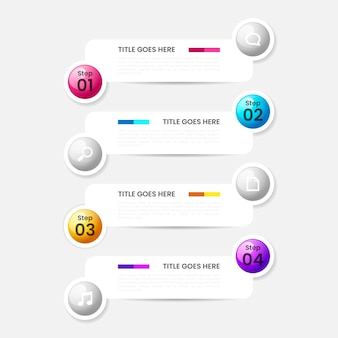 Realistic glossy step infographic template