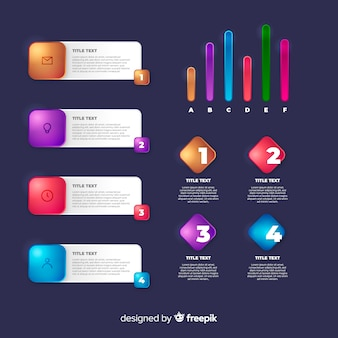 Realistic glossy template infographic element collection