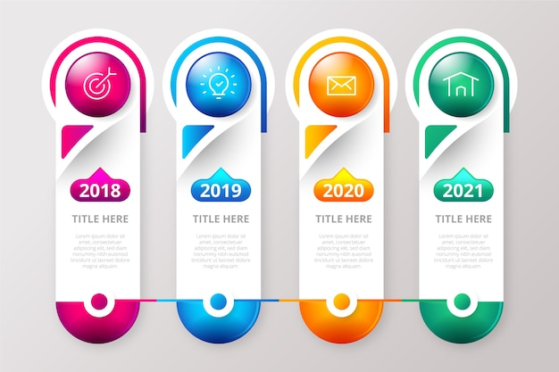 Realistic glossy template timeline infographic