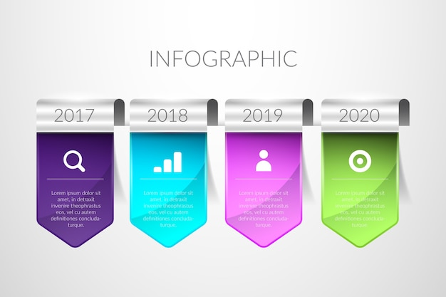 Realistic glossy timeline infographic
