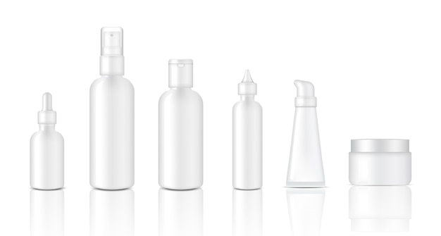 Realistic glossy white cosmetic dropper and spray bottle