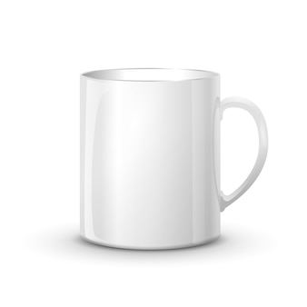 Realistic glossy white cup with shadow isolated
