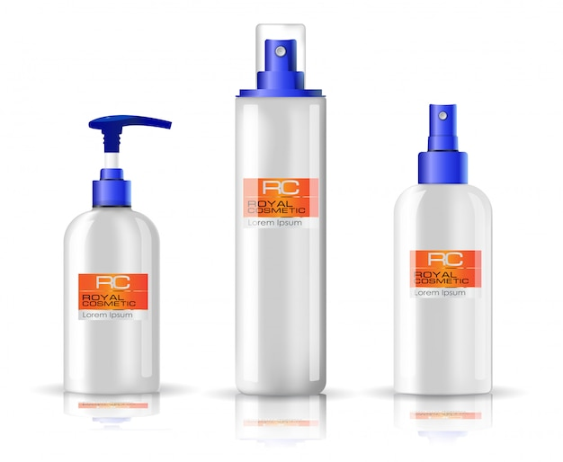 Realistic glossy white spray cosmetic bottle set with blue cap