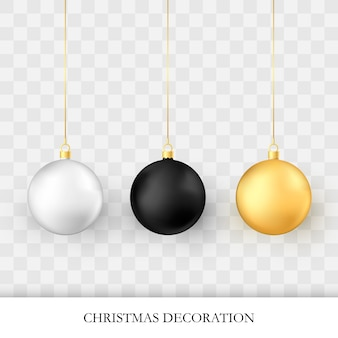 Realistic glossy xmas and new year tree decorations