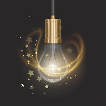 Реалистичный фон светящейся лампы со светящейся лампой на конце линзы, висящей на проводе