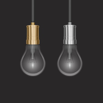 Реалистичная лампа накаливания со светящейся лампой на конце линзы, висящая на проводе
