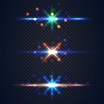 Реалистичный светящийся эффект вспышки линз со звездами и блестками, обтравочный контур изолирован