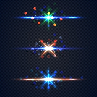 Realistic glowing lens flare light effect with stars and sparkles bursts clipping path isolated