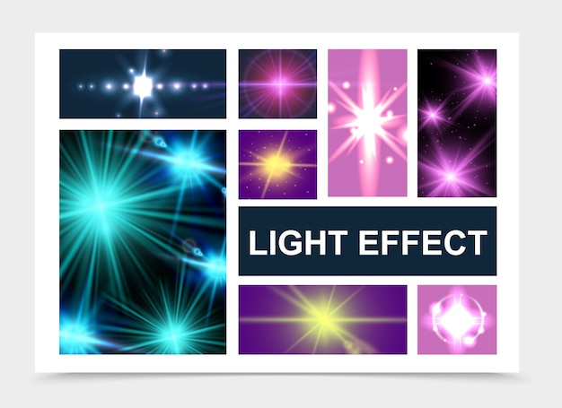 Realistic glowing and light effects set with shiny stars lens flare glitter sparkle effects isolated