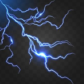 Realistic glowing lightning bolt