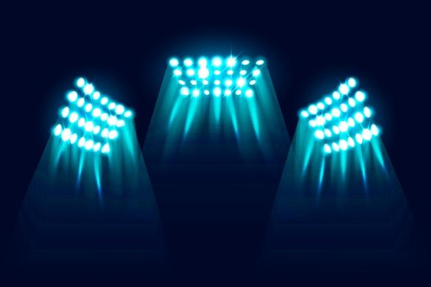Realistic glowing stadium lights