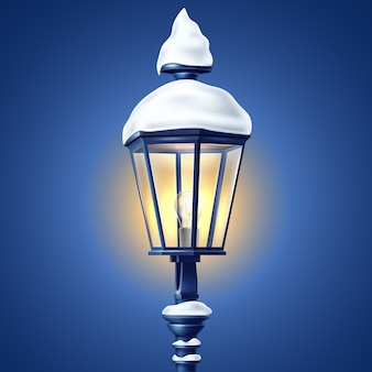 Realistic glowing streetlight at night with snowcaps 3d illustration
