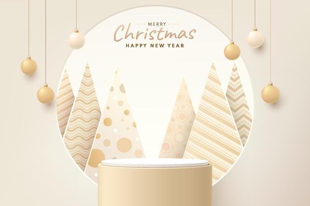 원형 창에 고급 크리스마스 트리가 있는 현실적인 금색 및 갈색 3d 실린더 받침대
