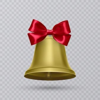 Реалистичный золотой колокол с красным бантом.