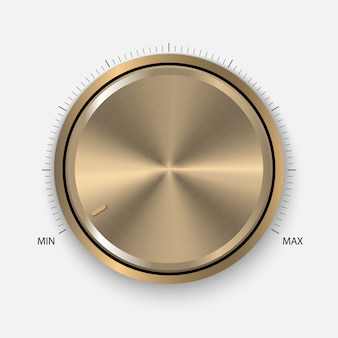 Realistic gold button with circular processing.