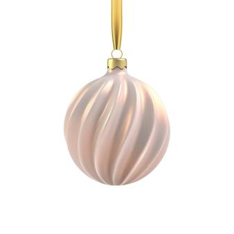 らせん状のリアルなゴールドのクリスマスツリーのおもちゃ。クリスマスデザイン、モックアップの3dイラストオブジェクト。透明な背景に分離されています。