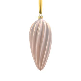 らせん状のリアルなゴールドのクリスマスツリーのおもちゃ。クリスマスデザイン、モックアップの3dイラストオブジェクト。