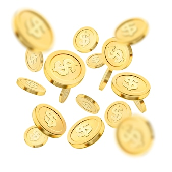 Realistic gold coin explosion or splash on white background. rain of golden coins. falling money. bingo jackpot or casino poker or win element. cash treasure success concept. 3d illustration.