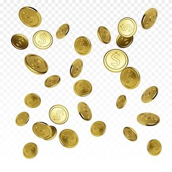 Реалистичная золотая монета на прозрачном фоне. джекпот или элемент выигрыша в покере казино. концепция денежного сокровища. падающие или летающие деньги. векторная иллюстрация