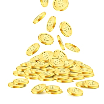 Стек реалистичные золотые монеты на белом фоне. дождь из золотых монет. падение денег на кучу. бинго-джекпот или покер в казино или элемент выигрыша. шаблон концепции успеха денежного сокровища. 3d иллюстрация