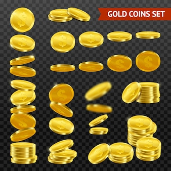 Realistic gold coins darktransparent set