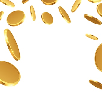 孤立して落下する現実的な金貨
