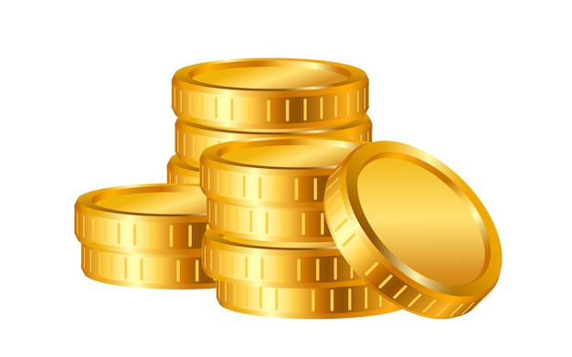 Реалистичные золотые монеты изолированы