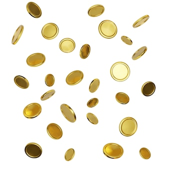 白い背景の上の現実的な金貨。お金の落下または飛散。ジャックポットまたはカジノポーカーの勝利要素。現金の宝の概念。ベクトルイラスト