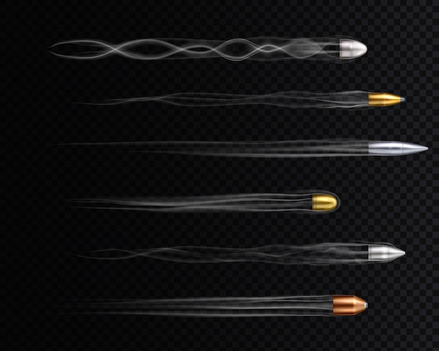 흔적이있는 현실적인 금 구리 및 은색 비행 총알