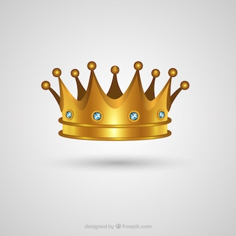 Realistic gold crown with precious stones
