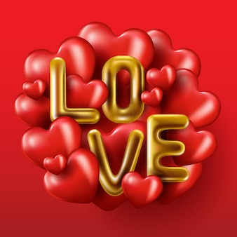 Realistic gold dripping word love, red  balloons