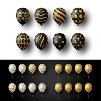 Realistic gold, golden, silver and black festive 3d helium balloons.