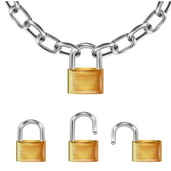 Реалистичный золотой замок на металлических звеньях цепи, открытый замок и открытый с надписью безопасности.