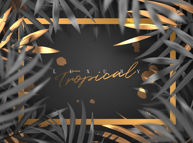 Realistic gold luxury summer tropical foliage frame background