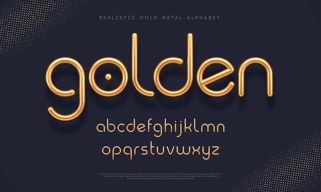 リアルなゴールドメタルフォント。モダンなミニマルフォント。メタリック3d書体。