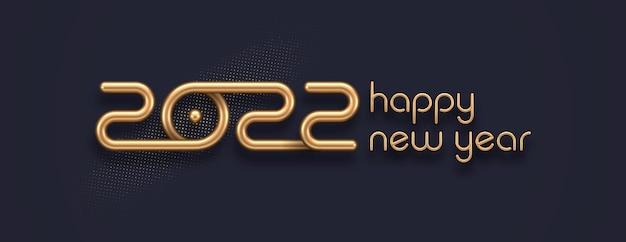 Реалистичный золотой металлический логотип нового года 2022