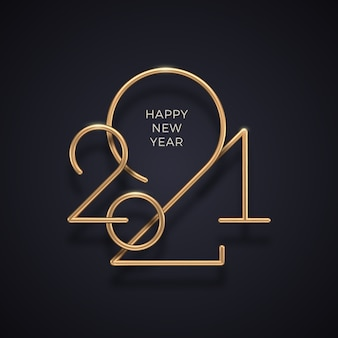 Realistic gold metal logo of year on black background