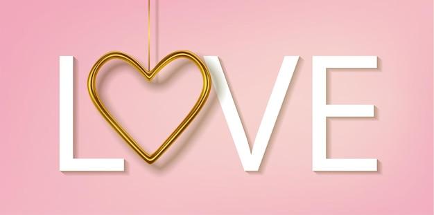 Реалистичные золотые металлические сердечки, изолированные на розовом