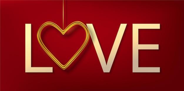 Реалистичные золотые металлические сердечки, изолированные на красном