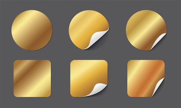 Realistic gold paper stickers set