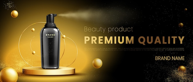 Realistic gold podium background with product