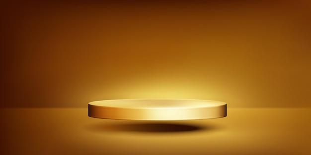 Realistic gold podium background