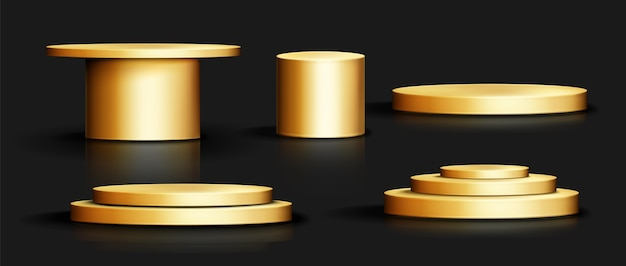 Realistic gold podium collection