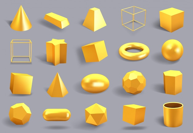 現実的な金の形。黄金の金属の幾何学的形状、光沢のある黄色のグラデーションキューブ、球とプリズムの数字イラストアイコンセット。イエローゴールドのリアルな多角形の3 d、正方形、プリズム