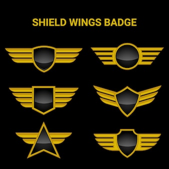 Realistic gold shield and wings